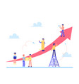 scrum task board with people and arrows flat vector image vector image