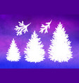 set christmas trees and branches vector image