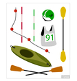 Set of Canoe or Kayak Equipment on White vector image vector image