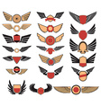 Set of the emblems with wings vector image vector image