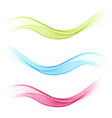 set of transparent abstract waves bluegreen and vector image