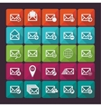 Set of twenty five flat mail icons vector image