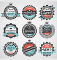 set premium quality guaranteed genuine badges vector image