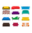 sofa set icon colored collection isolated vector image vector image