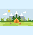 summer camp concept landscape tent mountain tree vector image