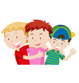 Three boys hugging and smiling vector image vector image