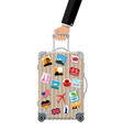 travel bag in hand plastic case with stickers vector image vector image