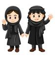 two kuwait kids in black costume vector image vector image