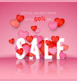 valentines day sale poster with holiday discount vector image
