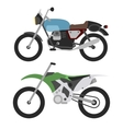 retro motorcycle and motorcross bike isolated on vector image