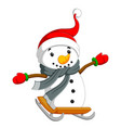 a happy snowman is sliding on the board vector image vector image