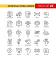artificial intelligence black line icon - 25 vector image vector image