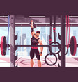 athlete training in gym vector image