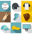 baseball championship icon set flat style vector image vector image