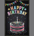 birthday invitation card cake with candle vector image vector image