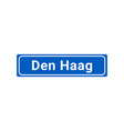 blue and white city sign of den haag vector image vector image