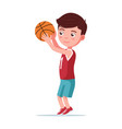 boy basketball player throws ball in basket vector image