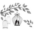 branch with a cage and birds vector image