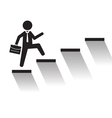 Business man climb stairs over white background vector image vector image