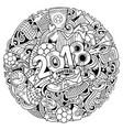 cartoon cute doodles hand drawn 2018 football vector image vector image