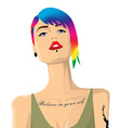 Cartoon hipster girl portrait with colorful hair vector image vector image