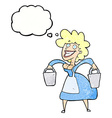 cartoon milkmaid carrying buckets with thought vector image