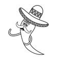 chilli pepper with mexican hat comic character vector image vector image