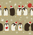 christmas seamless pattern penguins vector image