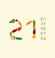 decorative numerals set out from vegetables vector image vector image