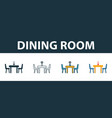 dining room icon set four elements in diferent vector image vector image
