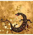 dragon on a background grunge vector image