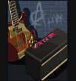 electric guitar and amplifier on a brick wall vector image vector image