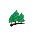 elegant scribble green pine trees template vector image
