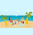 family at tropical beach picnic near sea enjoying vector image
