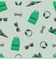 fashion seamless pattern backpacks vector image
