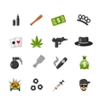 Flat Isolated Gangster Icons vector image vector image