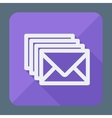 Four envelopes square flat icon with long shadow vector image vector image