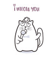 funny cat saying meow for greeting card design vector image vector image
