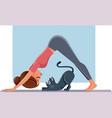 funny girl exercising next to her cat on yoga mat vector image vector image