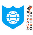 global shield icon with lovely bonus vector image vector image