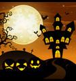 halloween background with cartoon black pumpkins c vector image