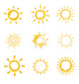 hand drawn shining sun collection summer heat vector image