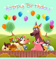 happy birthday card with cute farm animals vector image vector image