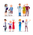 happy healthy senior people and doctors having vector image