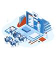 isometric online webinar training e-learning vector image