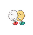 language translation icon - two cartoon people vector image vector image