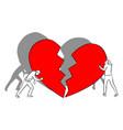 man and woman with big red broken heart vector image vector image