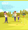 man with bag leading son to play golf leisure vector image vector image