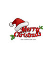 merry christmas greeting card with santas hat and vector image vector image