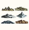 mountains peaks set vintage old engraving in hand